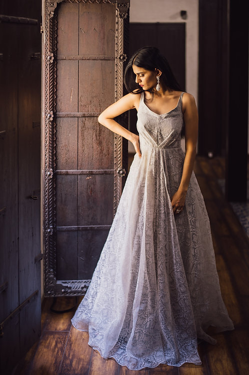 GREY COCKTAIL GOWN