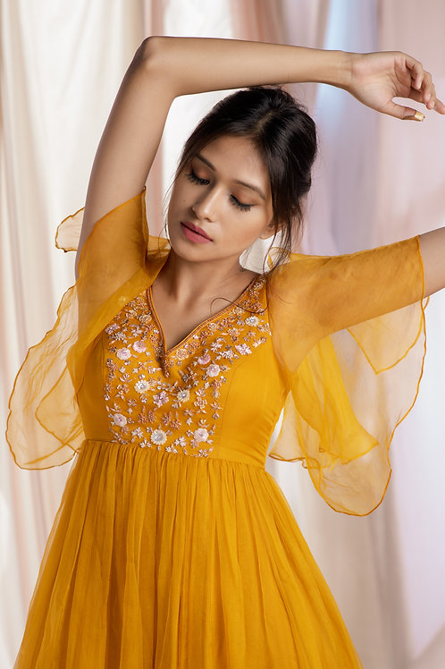 Marigold Yellow floral work embellished gown