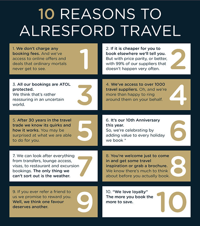 10 reasons to book at Alresford Travel