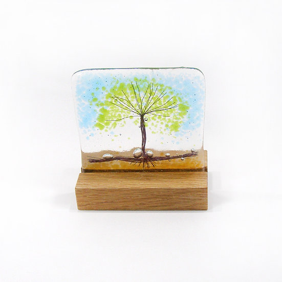 Fused Glass Spring Green Tree in wood stand