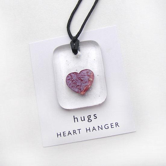 Copper Heart Fused Glass Hanger
