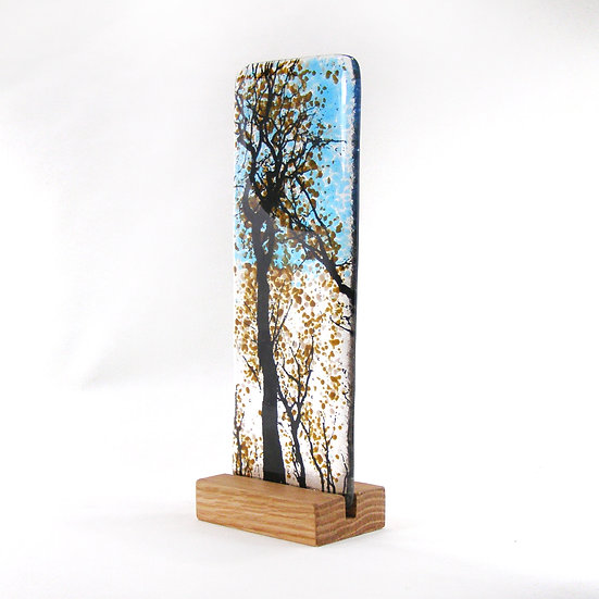 Fused Glass Tree Brown Forest Design
