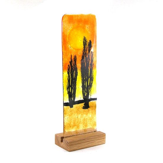 Fused Glass Trees with sunset sky in wood stand, Poplar Trees
