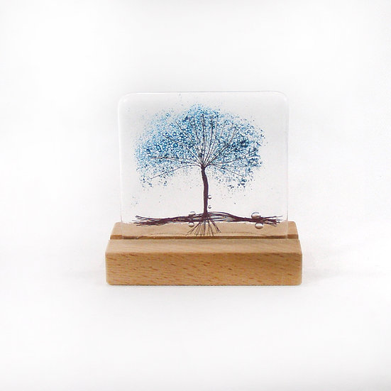 Fused Glass Blue Bubble Tree in wood stand