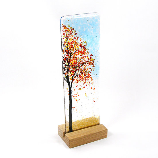 Fused Glass Autumn Side Tree