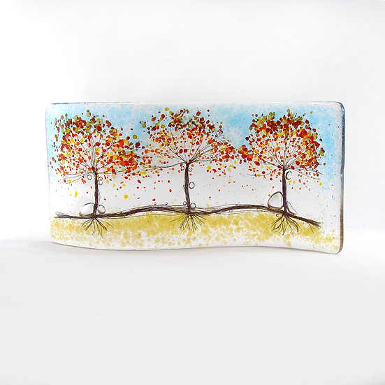 Fused Glass Curve Autumn Tree S Shaped