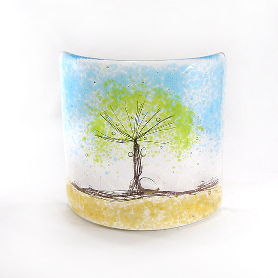 Fused Glass Curve Green Tree