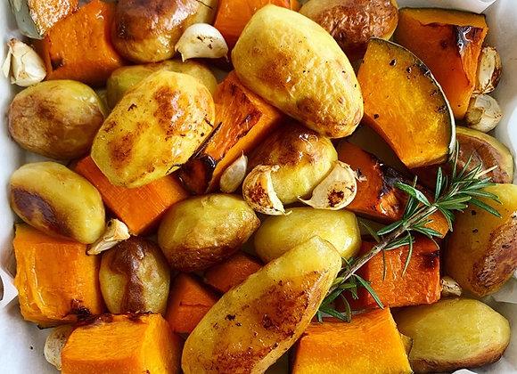 Duck Fat Roasted Potatoes & Pumpkin