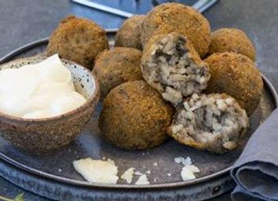 Risotto Ball W Mushroom, Mozzarella, Rosemary W Garlic Aioli V