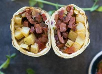 Breakfast Burrito, Chorizo, Potato, Pico De Gallo Salsa & Cheese