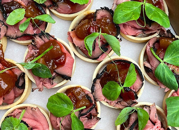 Rare Beef & Pear Chutney Tartlet (GF)
