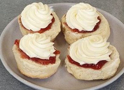 Open House Baked Scones Prepared With Jam And Cream