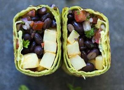 Breakfast burrito VEGAN, black beans, potato & pico de gallo salsa vgn