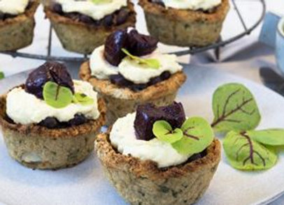 Cauliflower Tart With Red Kidney Beans, Cashew Nut Cream And Roasted Beetroot GF