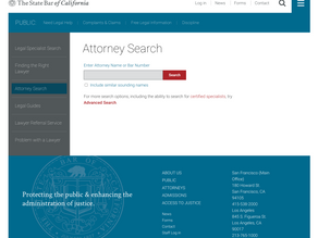 The California State Bar Attorney Search Tool