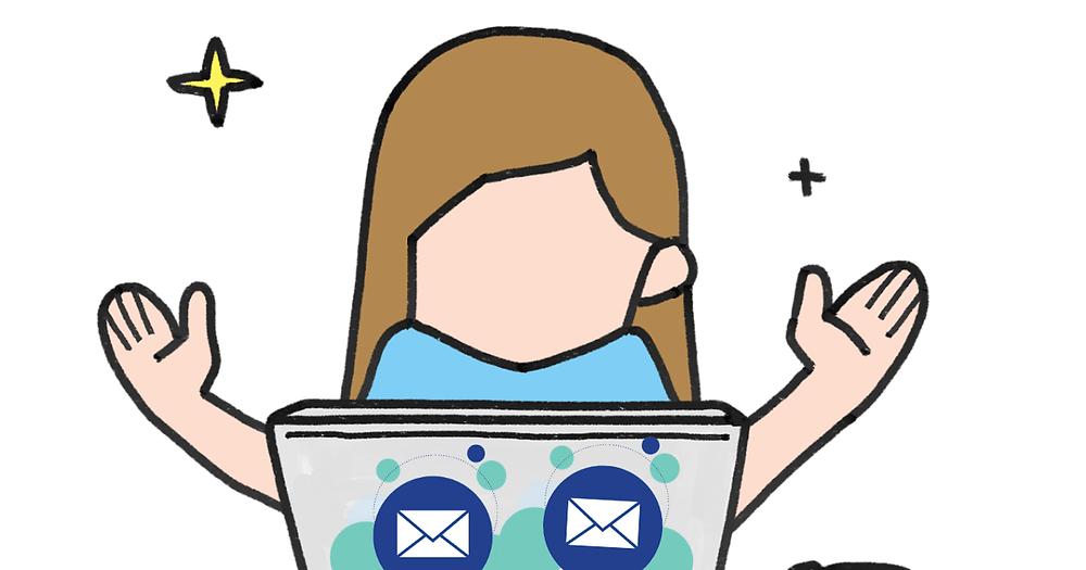 การ์ตูนผู้หญิงกำลังเขียน Email ภาษาอังกฤษ