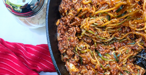 Zucchini Linguine & Meat Sauce All In One Skillet