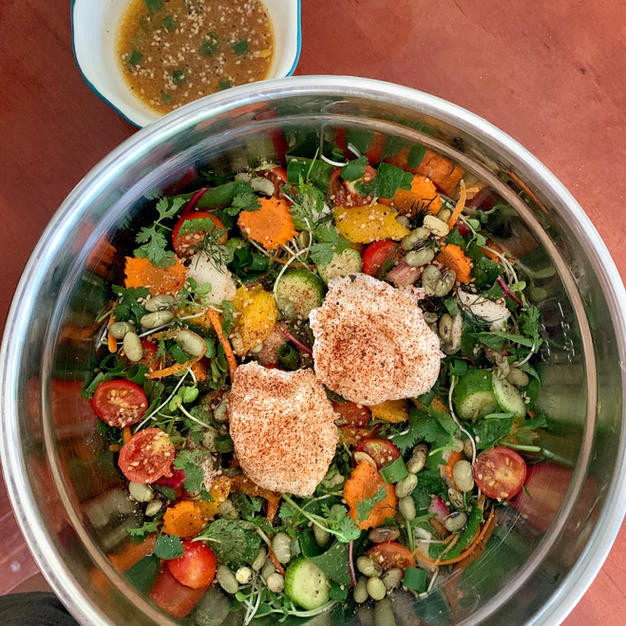 High Vibe Local Veggie Salad with Lilikoi Miso Vinaigrette