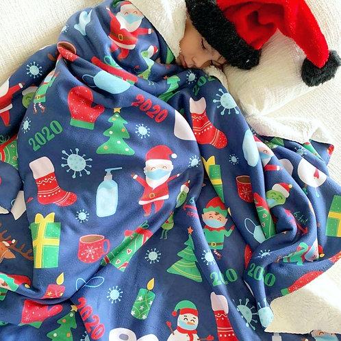 2020 Christmas Sherpa Fleece Blanket - Navy