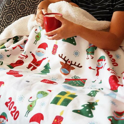 2020 Christmas Sherpa Fleece Blanket - White
