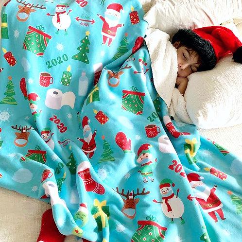 2020 Christmas Sherpa Fleece Blanket - Turquoise