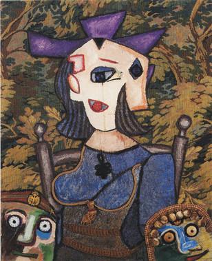 Enrico Baj, La moglie di Picasso, 1984, acrilici e collage su tavola, cm 92 x 73 - Collezione Merlini