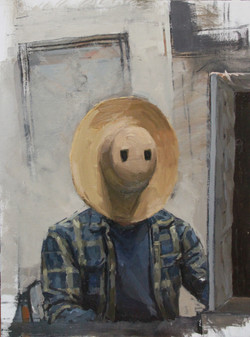 Self-Portrait with Straw Hat Mask (No wits at all and afraid of the Devil)