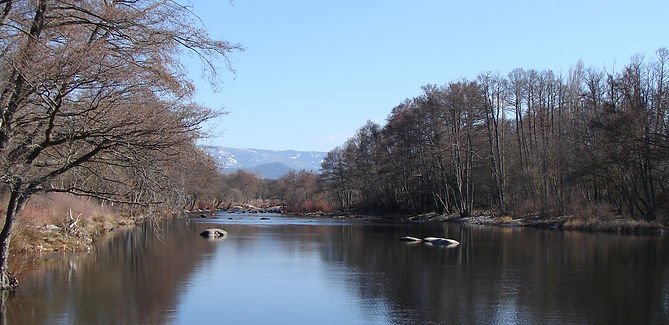 The River Tormes with the Sierra de Gredos in the background