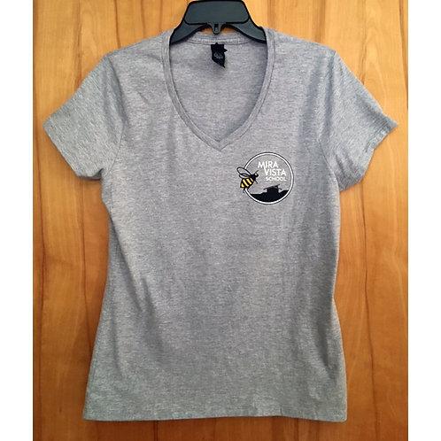 Adult Grey V-Neck T-shirt