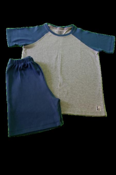 Pijama Azul / Cinza Mescla Juvenil