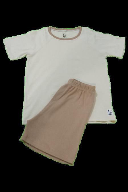 Pijama Invantil Off-white bolinha marrom