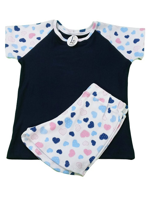Pijama Infantil Feminino Coração Bordado