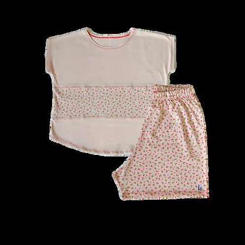 Pijama Pérola Flor Vermelha