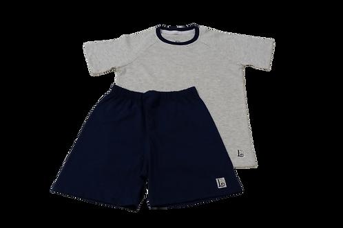 Pijama Azul / Cinza Mescla infantil