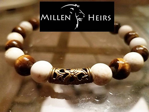 10mm White Turquoise and Tiger's Eye bracelet