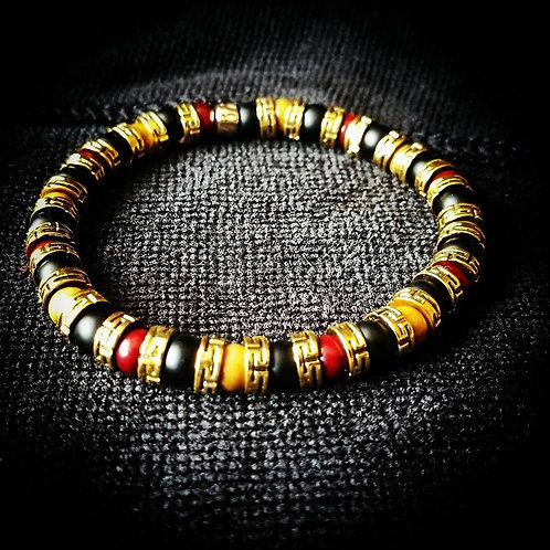 6mm Unisex Beaded Bracelet: Rosewood, Green Sandalwood, Gold spacers, Black Onyx