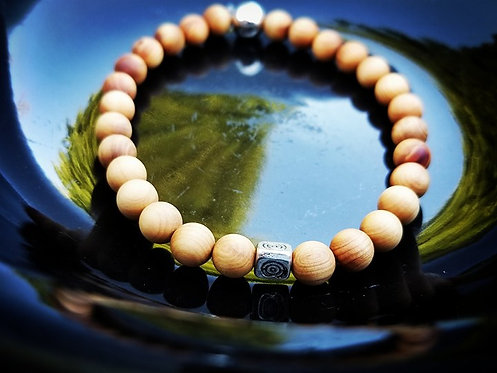 6mm Unisex Bracelet: Sandalwood & Silver beaded bracelet