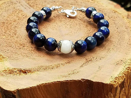 10mm Blue Tiger's Eye & Tibetan Silver with White Jade Focal Bead