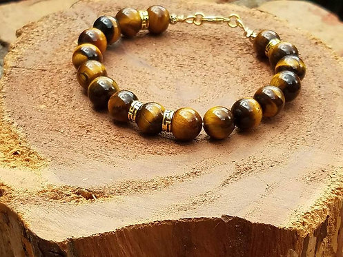 10mm Golden Tiger's Eye with gold plated accents
