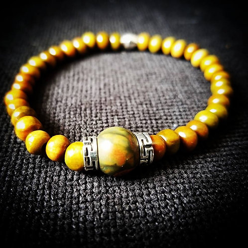 Green Sandalwood with Unakite Focal beaded Bracelet