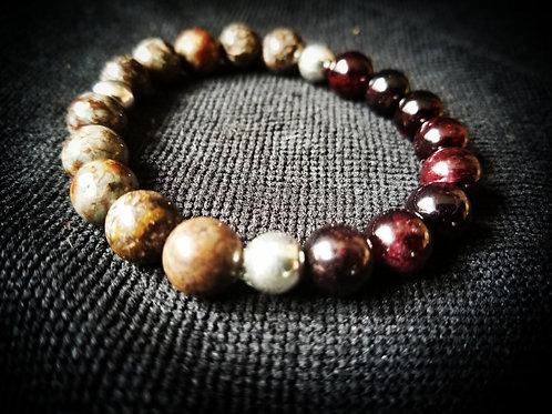 Coffee Jasper with dark red garnet beaded bracelet