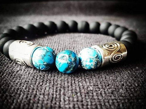 10mm Blue Howlite & Black Glass Beaded Bracelet(stretchable)