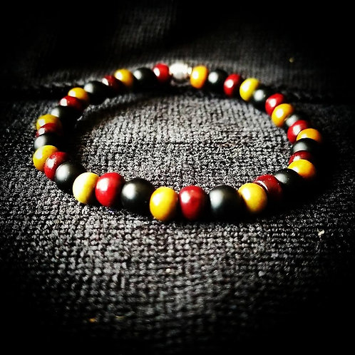 6mm Unisex Bracelet: Black Onyx, Rosewood, Green Sandalwood