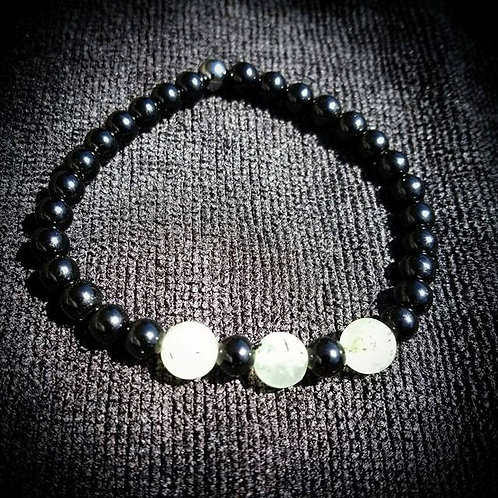8mm Prehnite & 6mm Obsidian Men's Beaded Bracelet