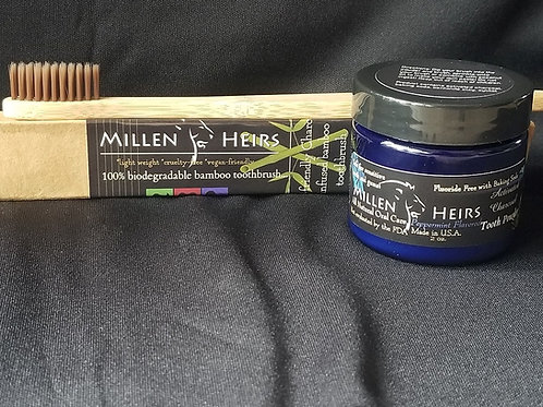 Peppermint Activated Charcoal Tooth Powder & Toothbrush Combo
