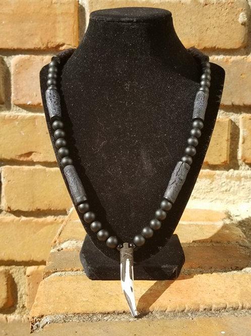 Black Onyx & Carved Horn Men's Necklace