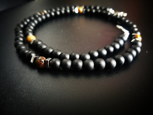 Black Onyx & Tigers Eye Necklace