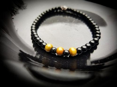 4mm Obsidian & Green Sandalwood Men's Beaded Bracelet