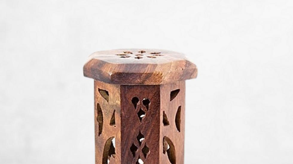 Carved Wooden Mini Tower Burner
