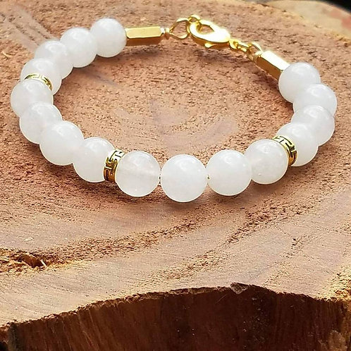 10mm  White Jade with gold accents